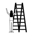 woman climbing stairs on white background vector image