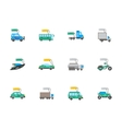 Auto business flat color icons set vector image