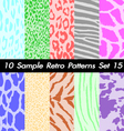 10 Animal Retro Patterns Textures Set 15 vector image vector image