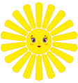 a cartoon yellow sun with rays on a white vector image vector image
