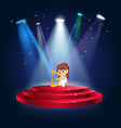 a girl playing harp at the stage vector image