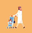 arabic man walking baby stroller happy family vector image