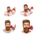 avatar of a bearded man with a bloody ax vector image vector image