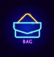 bag neon label vector image