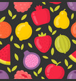 bright fruits seamless pattern on dark vector image vector image