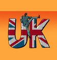 businessman overcomes border uk word flag vector image