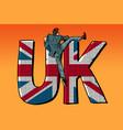 businessman overcomes the border uk word flag vector image