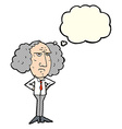 cartoon big hair lecturer man with thought bubble vector image vector image