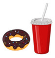 chocolate donut and a drink in red disposable cup vector image vector image