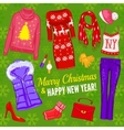 Christmas Fashionable Clothing Composition vector image