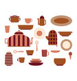 collection kitchenware and cookware set vector image