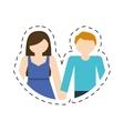 couple romantic love cut line vector image vector image