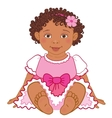 Cute African American baby girl in pink dress vector image