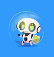 cute robot hold shield data protection technology vector image