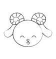 cute sketch draw goat face vector image vector image