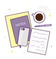 flat design top view of empty blank notebook vector image