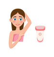 flat girl with depilated armpit and shave vector image vector image