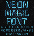 Font magic Bright shiny font Electric letters vector image vector image