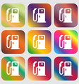 Fuel icon sign Nine buttons with bright gradients vector image vector image