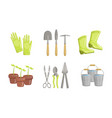 garden tools set gardening equipment flower pot vector image