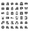 gift box or present box icon solid style vector image vector image
