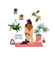 girl doing forward bend yoga pose with cat vector image vector image