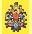 group people pray to god vector image