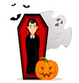 happy halloween vampire cartoon character vector image