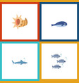 icon flat nature set of shark tuna cachalot and vector image vector image