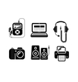 Icons in black for multimedia and office devices vector image