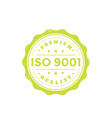 iso 9001 vintage badge green on white vector image vector image