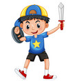 Little boy with armour and sword vector image
