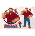 lumberjack mascot design set vector image vector image