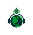 music world headset headphone listen logo icon vector image