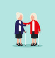old person two elderly standing and greeting vector image