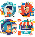 online shopping customer and technical support vector image vector image