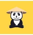 Panda in Chinese conical straw hat vector image vector image