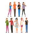 people take off their masks cartoon vector image vector image