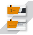 professional yellow business card design vector image vector image