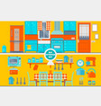 retro kitchen interior with furniture utensils vector image vector image