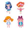 set cute girl cartoons vector image