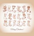 set doodle sketch christmas socks in vintage vector image vector image