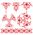set from the arabian ornaments of red and black co vector image vector image