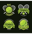 set of old style tennis labels with ball vector image