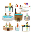 set of spa salon people rehabilitation vector image vector image