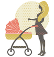 Silhouette of beautiful mother with baby carriage vector image vector image