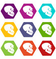 skull icons set 9 vector image