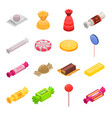 sugar candy icon set isometric style vector image vector image