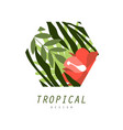 tropical logo design badge with palm leaves and vector image vector image