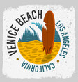 venice beach california surfing surf design with a vector image vector image